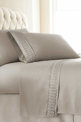 Southshore Fine Linens Queen Sized Premium Collection Double Brushed Lace Extra Deep Pocket Sheet Sets - Bone