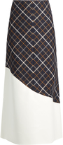 Awake A-line wave-panel cotton-blend plaid skirt