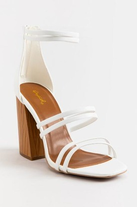 Qupid Chandler Strappy Block Heel - White