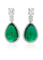 Bayco One-of-a-Kind Emerald & Diamond Earrings