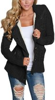 Annflat Women's Chunky Hooded Cable Knit Sweaters Fleece Lined Cardigan