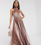 Asos DESIGN Petite velvet halter waisted pleated maxi dress