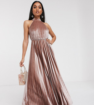 Asos DESIGN Petite velvet halter waisted pleated maxi dress-Beige