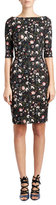 Erdem Floral V-Back Sheath Dress, Black/Multi