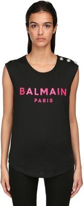 Balmain Silicone Logo Jersey Sleeveless T-Shirt