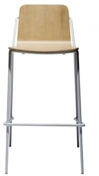 """Ash M.A.D. Furniture Sling Bar & Counter Stool m.a.d. Furniture Seat Height: Bar Stool (29"""" Seat Height), Frame Color: White, Seat Color: Bleached"""