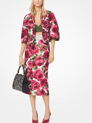 Michael Kors Rose Jacquard Cropped Jacket