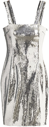 Galvan Chrome Sequined Stretch-mesh Mini Dress