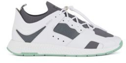 HUGO BOSS Hiking Inspired Sneakers With Leather Facings - White