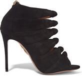 Aquazzura Nasiba Cutout Suede Sandals - Black