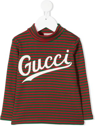 Gucci Kids logo-print striped T-shirt