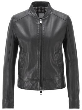 BOSS Regular-fit leather jacket with logo-print lining