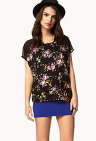 Forever 21 Contemporary Floral Paneled Tee
