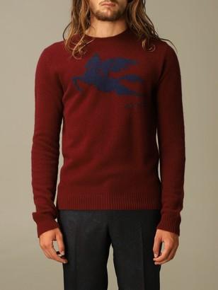Etro Sweater Wool Sweater With Jacquard Pegasus