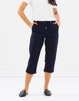 Dorothy Perkins Navy Poplin Crop Trousers