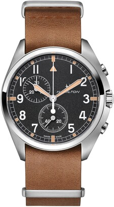 Hamilton Khaki Aviator Pilot Pioneer Chronograph Leather Strap Watch, 41mm