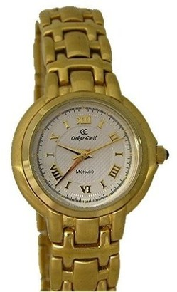 Oskar Emil Monaco Ladies Gold IP Plated Watch with white face
