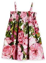 Dolce & Gabbana Sleeveless Poplin Rose Sundress, Pink, Size 2-6