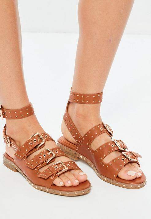 Missguided Brown Studded Buckle Sandals