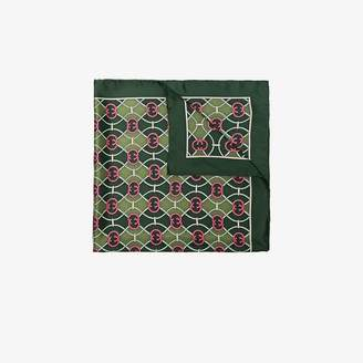 Gucci green GG-print silk scarf