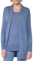 Akris Punto Long Wool Melange V-Neck Cardigan, Light Blue
