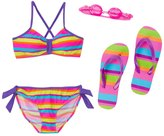 Jump N Splash Girls' Vibrant Stripe TwoPiece Swimsuit w/ Free Goggles (7-14) - 8143065