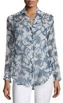 Lafayette 148 New York Leanne Silk Long-Sleeve Blouse, Blue Multi