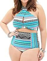 Gprince Women Geometric Cross High Neck Plus Size Bikini Swimsuit