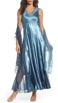Komarov Women's Lace Back Gown & Shawl