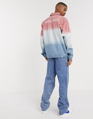 Karl Kani Gradient Denim shirt jacket in blue/pink