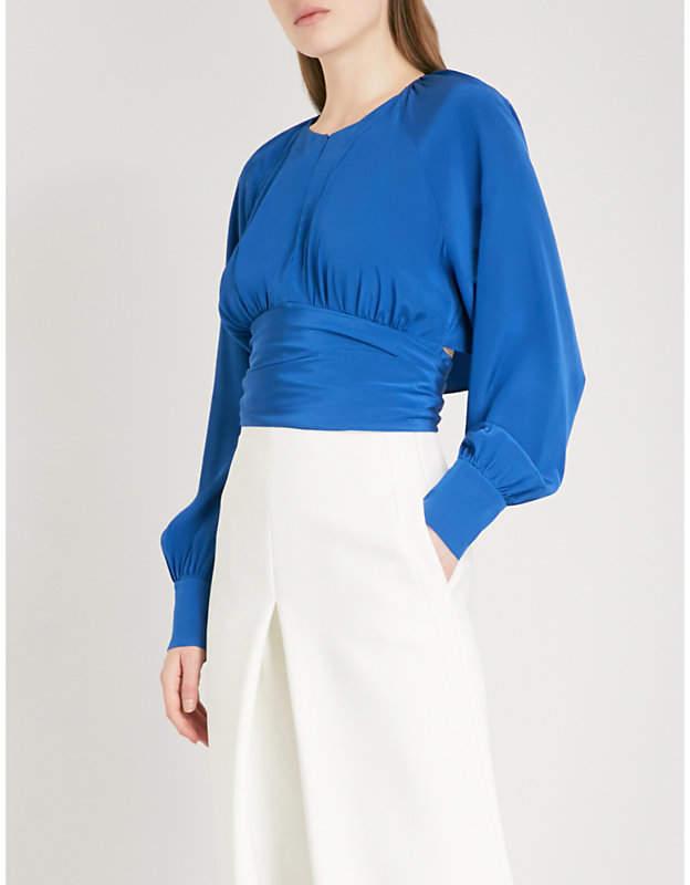 Diane von Furstenberg Self-tie ruched silk top
