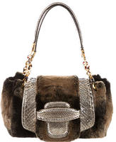 Oscar de la Renta Fur & Python Shoulder Bag