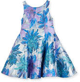 Zoe Blue Dahlia Metallic Floral Brocade Dress, Size 2-6X