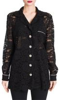 Dolce & Gabbana Jewel-Button Lace Pajama Blouse