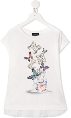 MonnaLisa studded butterfly-print T-shirt