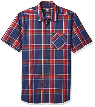 Hurley Men's Plaid Stretch Short Sleeve Woven Button Down Shirt