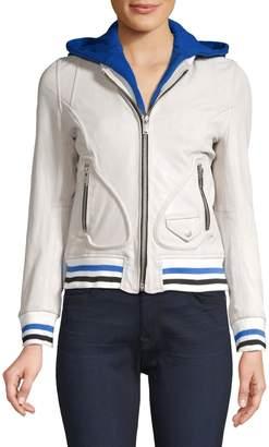 Doma Michelle Hooded Leather Varsity Jacket