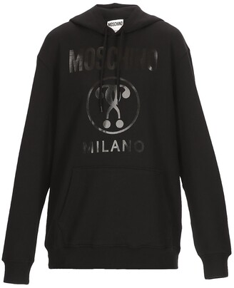 Moschino Double Question Mark Printed Drawstring Hoodie