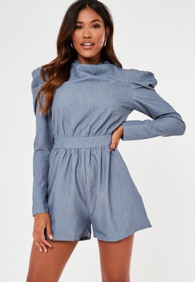 Missguided Blue Denim Look Shoulder Detail Romper