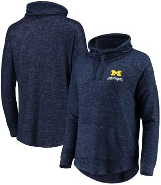 Women's Heathered Navy Michigan Wolverines Cuddle Cowl Pullover Sweatshirt