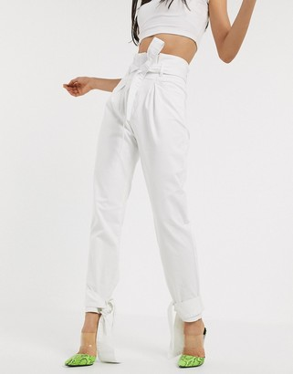 NA-KD tie hem paperbag waist jeans in off white