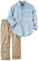 Carter's 2-Piece Button-Front Chambray Top & Canvas Pant Set