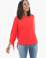 Chico's Faux-Suede Fringe Top