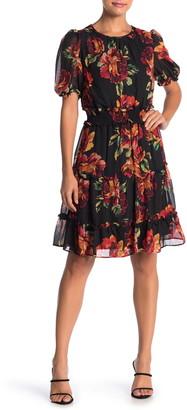Julia Jordan Floral Print Chiffron Ruffle Hem Dress