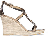 Burberry Metallic Leather Espadrille Wedge Sandals - Gold