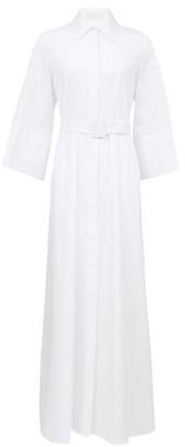 Sara Battaglia Belted Cotton-poplin Shirt Dress - White