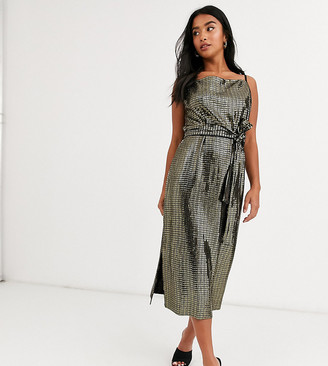 Y.A.S metallic sleeveless wrap dress with tie waist