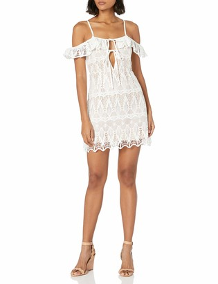 Lucca Couture Women's Lace Off Shoulder Ruffle Dress White Large