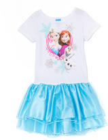 Jerry Leigh Frozen White & Blue Sisters & Olaf Dress - Girls