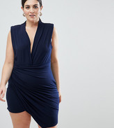 John Zack Plus Sleeveless Wrap Front Mini Dress